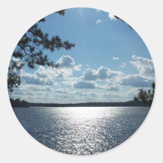 Lake View Round Sticker