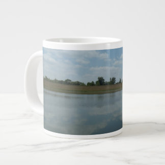 Lake Water Reflects the skies Fluffy White Clouds Large Coffee Mug