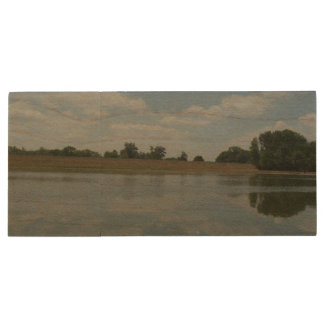Lake Water Reflects the skies Fluffy White Clouds Wood USB 2.0 Flash Drive