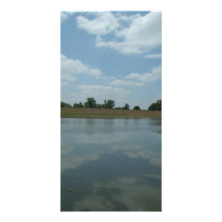 Lake Water Reflects the skies Fluffy White Clouds Customised Photo Card