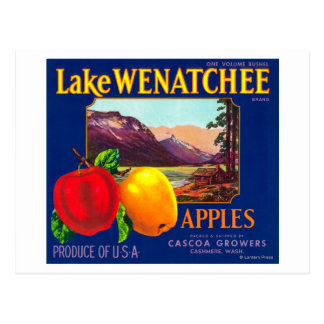 Lake Wenatchee Apple Label (blue) - Cashmere, WA Postcard