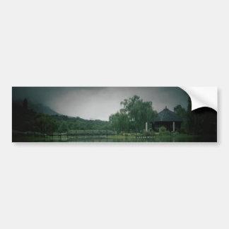 Lake with shadow card car bumper sticker
