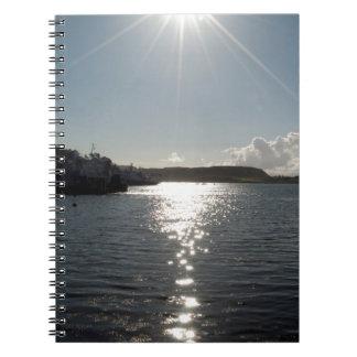 Lake with sunshine notebooks