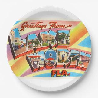 Lake Worth Florida FL Old Vintage Travel Souvenir 9 Inch Paper Plate