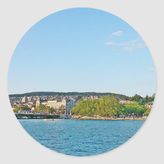 Lake Zurich, view to the Bellewue bridge Classic Round Sticker