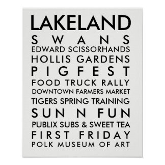 Lakeland history 16x20 black poster