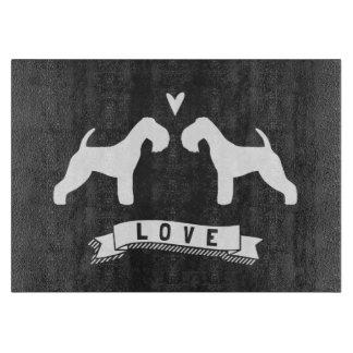 Lakeland Terrier Silhouettes Love Cutting Board