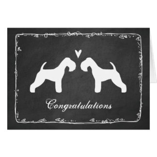 Lakeland Terrier Silhouettes Wedding Congrats Card