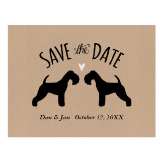 Lakeland Terrier Silhouettes Wedding Save the Date Postcard