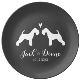 Lakeland Terrier Silhouettes with Heart and Text Plate