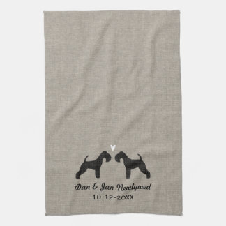 Lakeland Terrier Silhouettes with Heart and Text Tea Towel