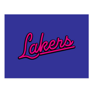 Lakers in magenta postcard