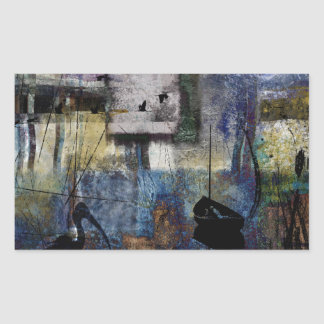 Lakeshore at Dawn Rectangular Sticker