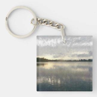 Lakeside Sunset Watercolor Keychain