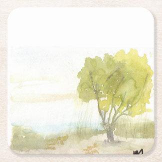 Lakeside Tree Square Paper Coaster