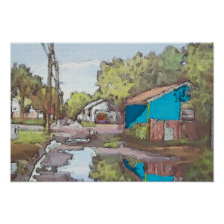 Lakeview Alley in Blue Poster