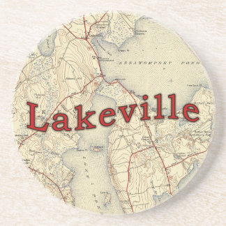 Lakeville Massachusetts Old Map Coaster