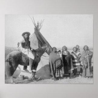 Lakota Women with Infants and Man on Horseback Poster