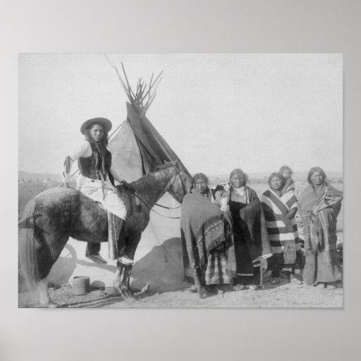 Lakota Women with Infants and Man on Horseback Print