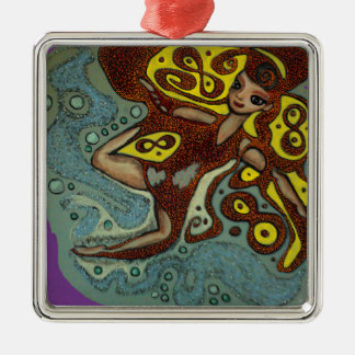 lakshimi in copper on the beach Silver-Colored square decoration