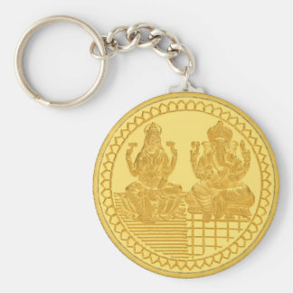 LAKSHMI AND GANESH GOLD COIN DESIGN KEY RING