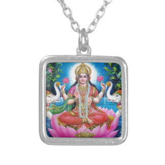 Lakshmi Goddess of Love, Prosperity, and Wealth Silver Plated Necklace