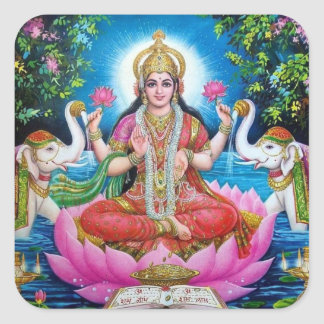 Lakshmi Goddess of Wealth, Happiness, and Beauty Square Sticker