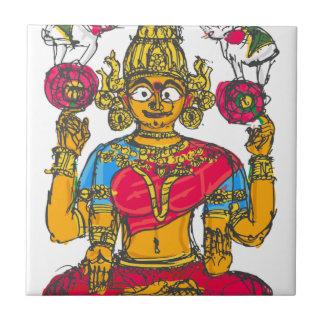 Lakshmi / Shridebi in Meditation Pose Ceramic Tile