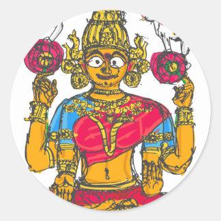 Lakshmi / Shridebi in Meditation Pose Classic Round Sticker