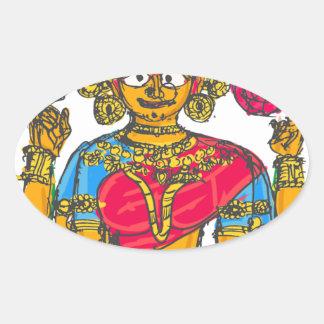 Lakshmi / Shridebi in Meditation Pose Oval Sticker