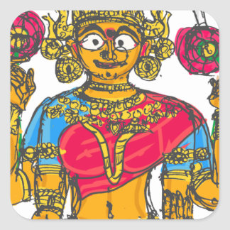Lakshmi / Shridebi in Meditation Pose Square Sticker