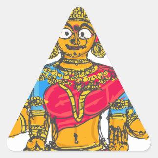 Lakshmi / Shridebi in Meditation Pose Triangle Sticker