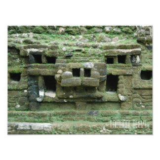 Lamani Mayan Ruins Jaguar Mask Belize Travel Photo Print