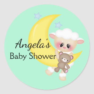Lamb and Crescent Moon Baby Shower Classic Round Sticker