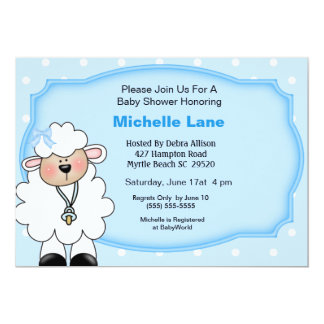 Lamb   Baby Boy Shower Invitations