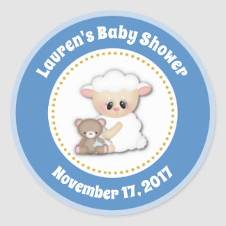 Lamb Baby Shower Favor Stickers Blue Boy