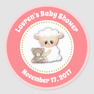 Lamb Baby Shower Favor Stickers Pink Girl