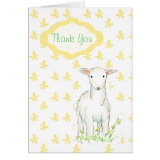 Lamb Baby Shower Gift Thank You Card