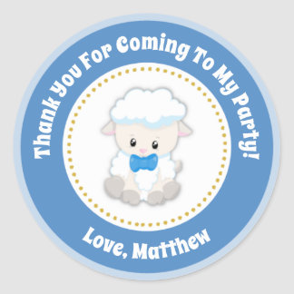 Lamb Birthday Party Favor Stickers Blue Boy