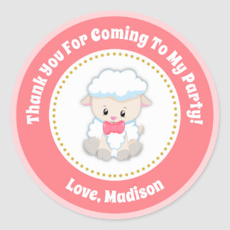 Lamb Birthday Party Favor Stickers Pink Girl