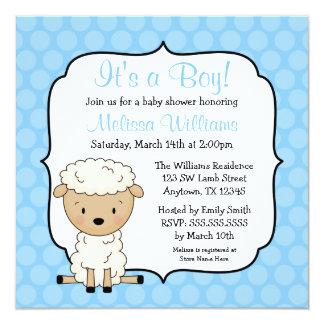 Lamb Blue Dots Boy Baby Shower Invitations
