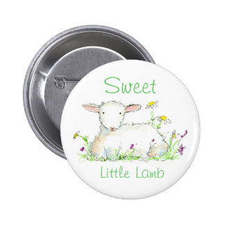Lamb Button Pin Farm Animal Sheep Art Illustration