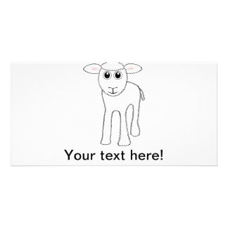 Lamb cartoon personalised photo card