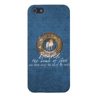 Lamb of God Byzantine Christian Icon on Blue Case For iPhone 5/5S