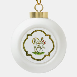 Lamb of God Ceramic Ball Decoration