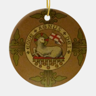 Lamb of God Ecce Agnus Dei Round Ceramic Decoration