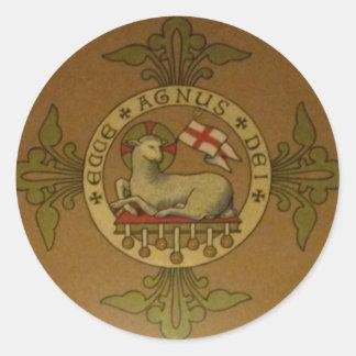 Lamb of God Ecce Agnus Dei Round Sticker