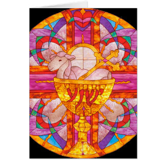 Lamb of God stained glass Cards