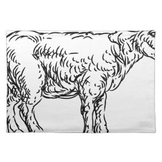 Lamb Sheep Food Grunge Style Hand Drawn Icon Placemat