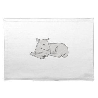 Lamb Sleeping Drawing Placemat